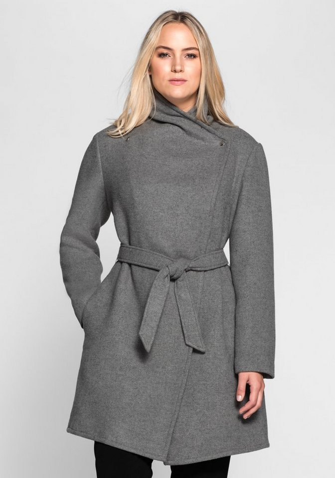 sheego Style Kurzmantel im asymmetrischen Schnitt in grau meliert