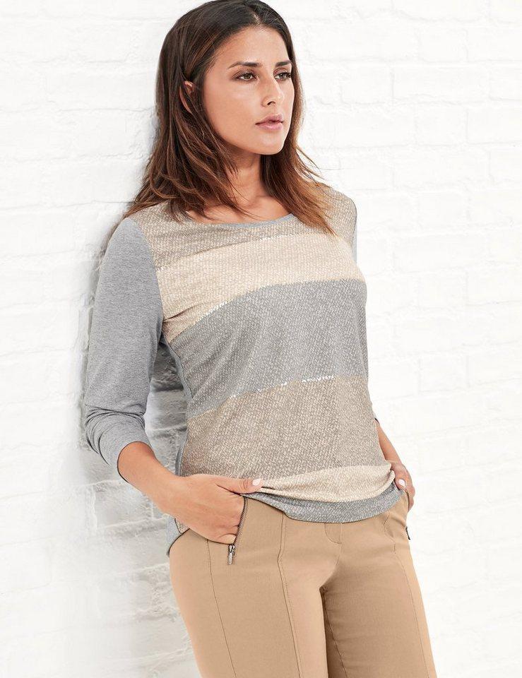 Samoon T-Shirt Langarm Rundhals »Shirt mit bedruckter Front« in Silber Druck