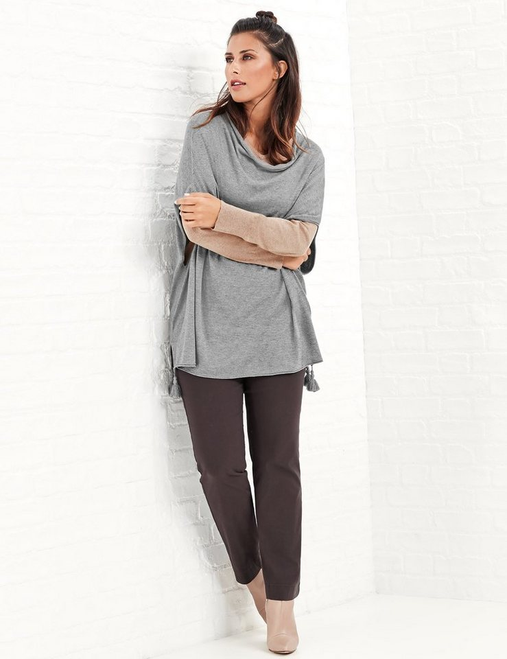 Samoon Strick, Shirt, Top, Body »Pullover im Poncho-Style« in Silver Ray-Melange.