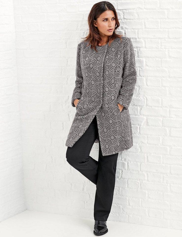 Samoon Outdoorjacke Wolle »Kurzmantel aus Wollflausch« in Taupe Gray gemustert