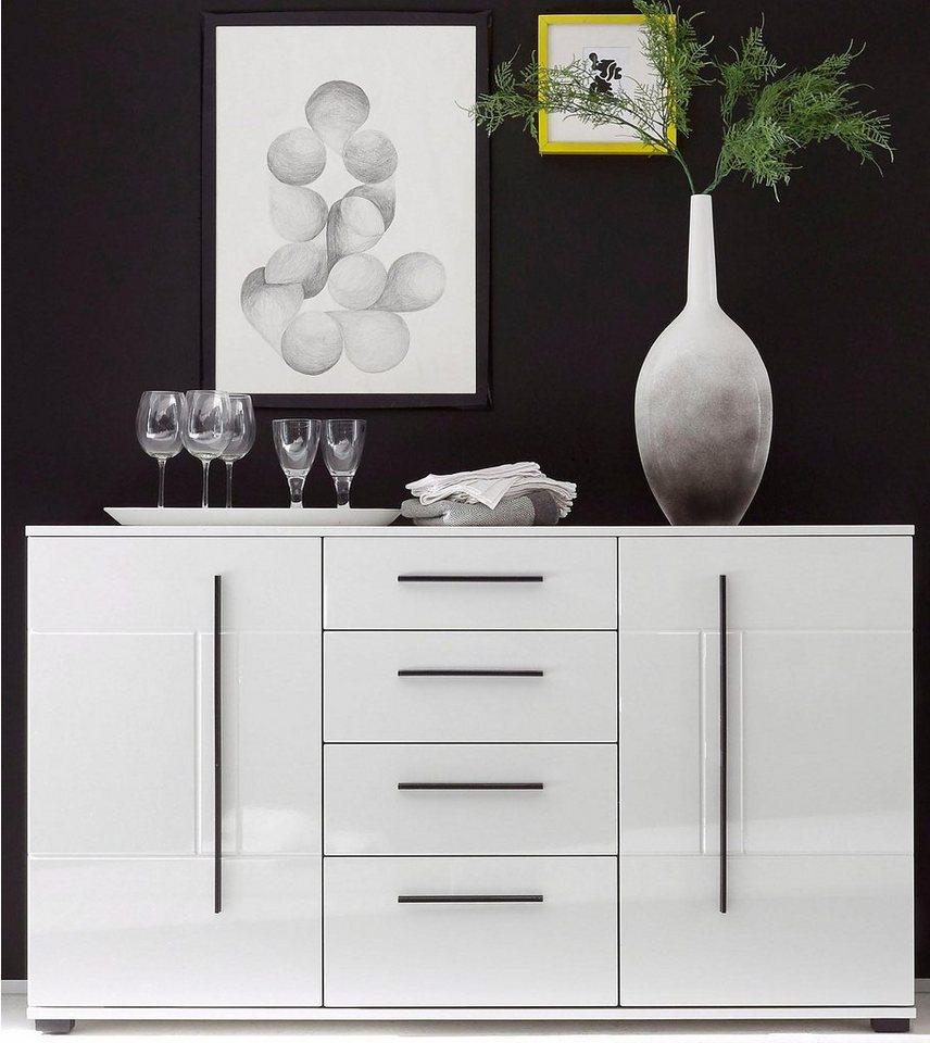 Sideboard, Breite 150 cm in Weiß/Weiß Hochglanz