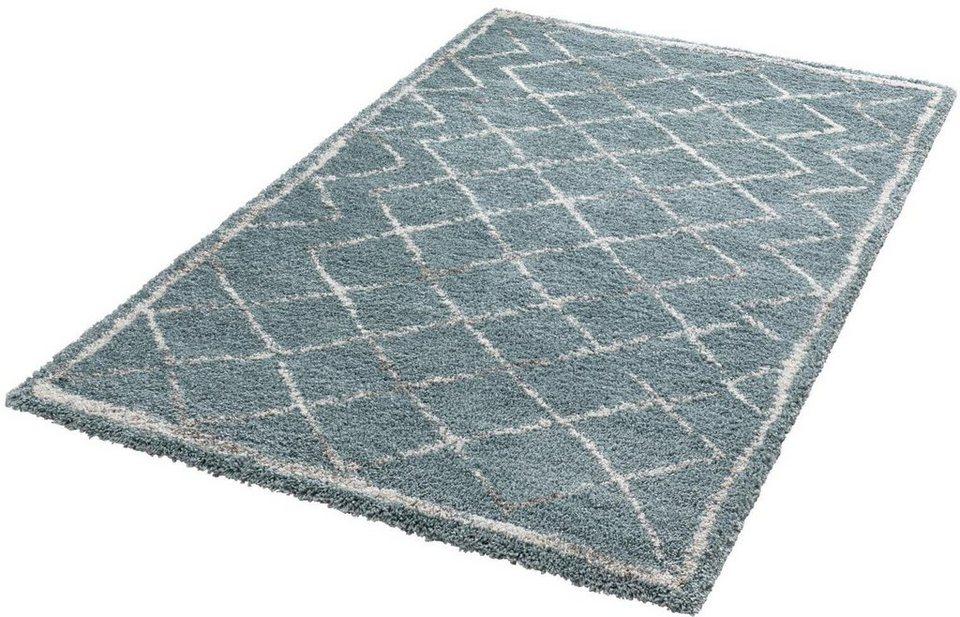 Hochflor-Teppich, Mint Rugs, »Loft«, Höhe 35 mm, gewebt in blau creme