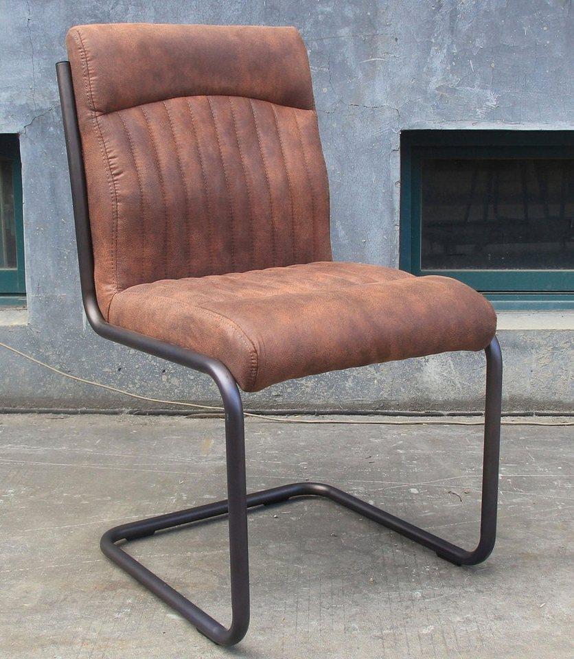 SIT Freischwinger-Stühle »Derry«, mit Gestell aus Stahlrohr (2 Stück) in grau/braun