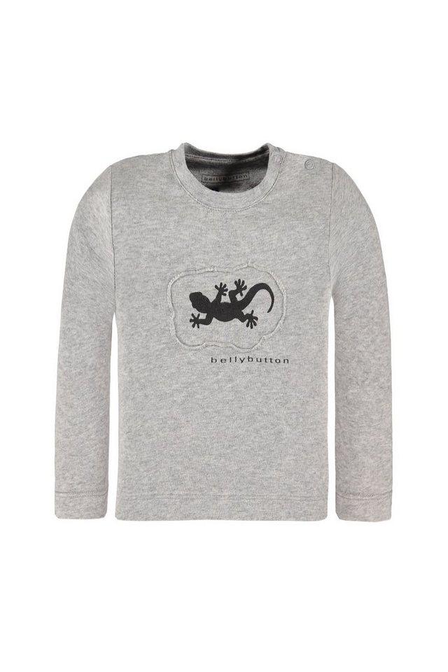 BELLYBUTTON Baby-Langarmshirt mit Gecko Motiv in silver melange