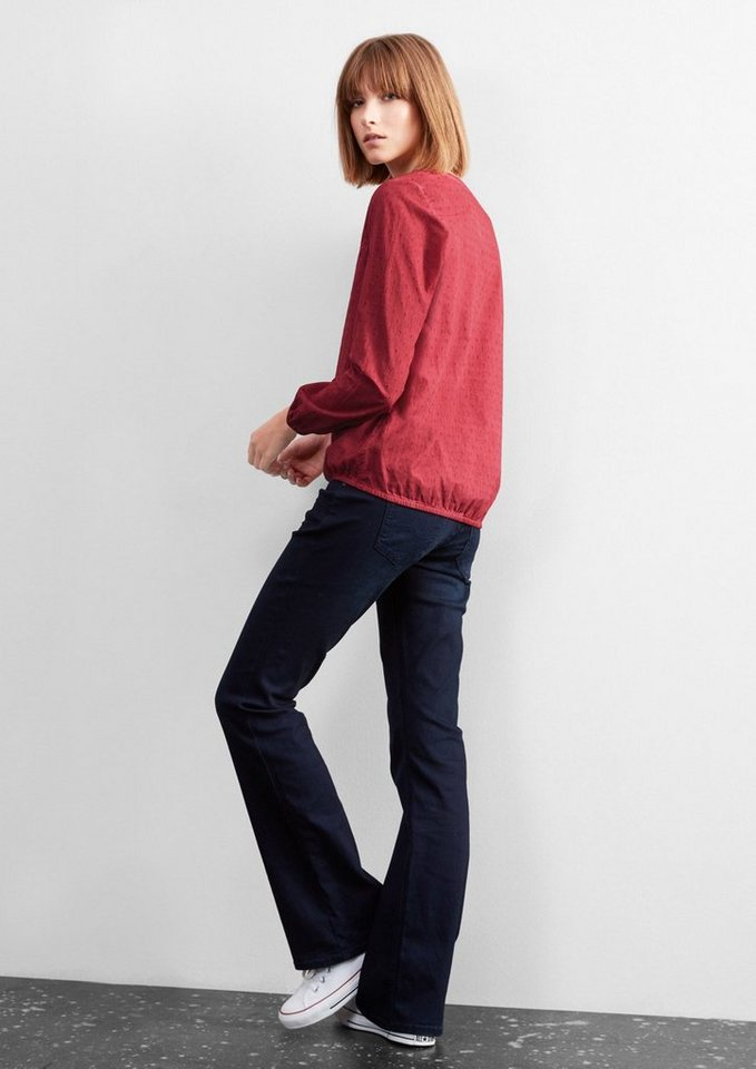 Q/S designed by Garment Dye-Bluse mit Webmuster in autumn red