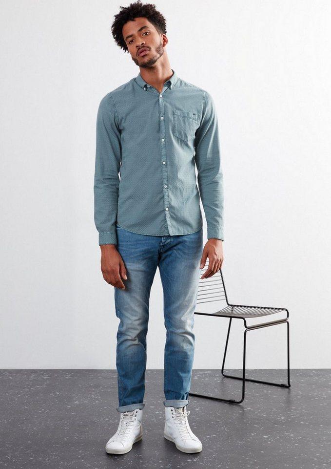 Q/S designed by Extra Slim: Hemd mit Karo-Struktur in urban blue