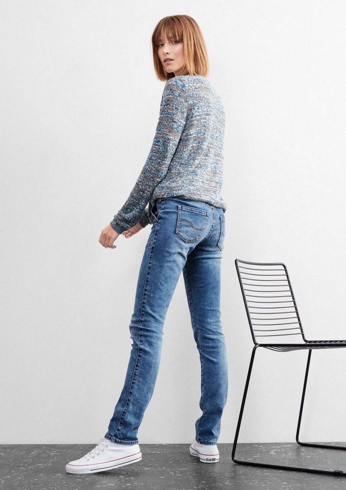 Q/S designed by Slim: Jeans mit Knopf-Details in blue denim, heavy st