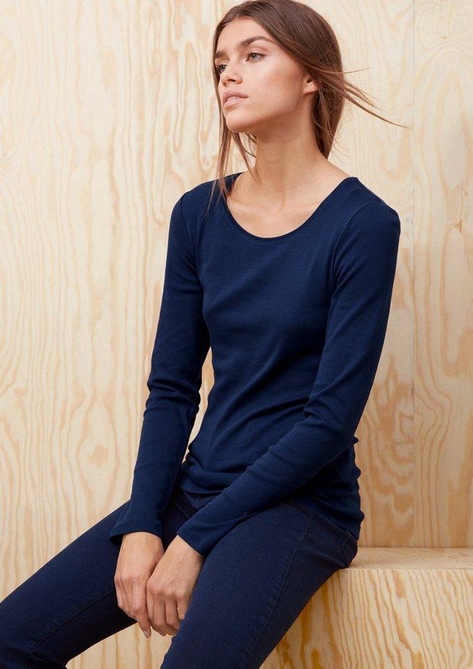 s.Oliver RED LABEL Basic-Longsleeve aus Baumwolle in dark royal blue