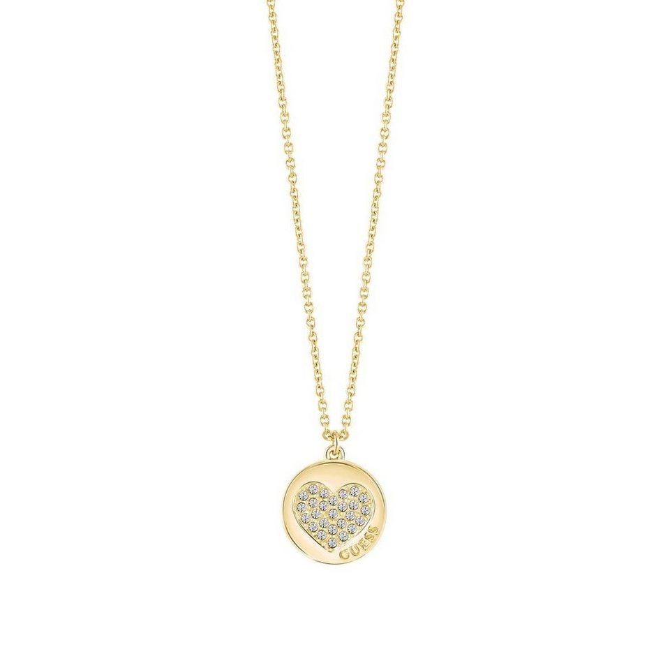 Guess LANGE HALSKETTE HEART DEVOTION GELBVERGOLDET in Goldenfarbe
