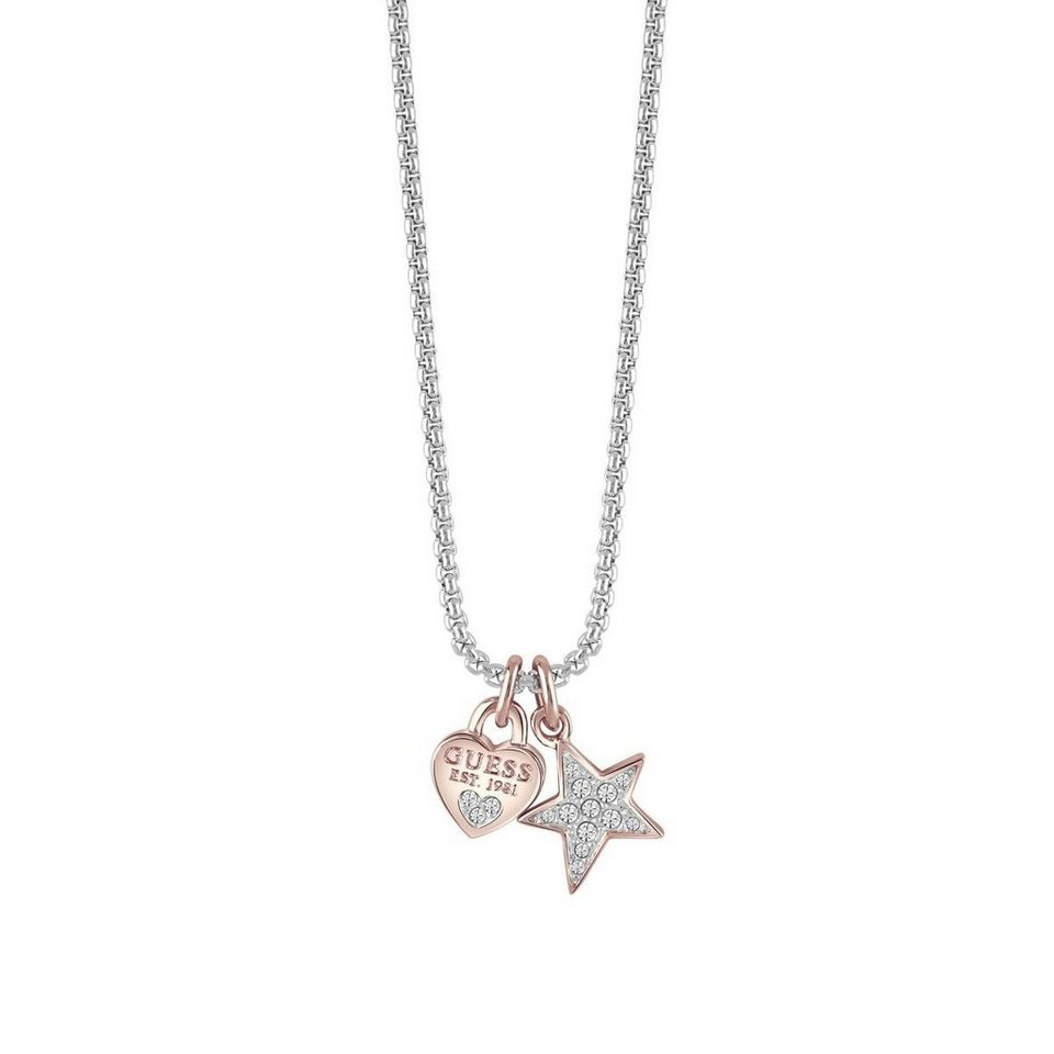 Guess HALSKETTE ALL ABOUT SHINE CHARMS ROSÉVERGOLDET in Silber