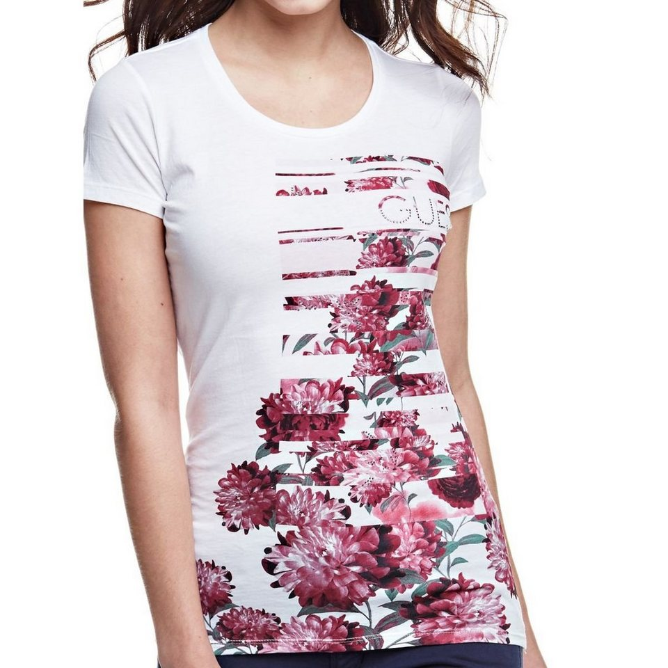 Guess BLUMEN-T-SHIRT in Weiß