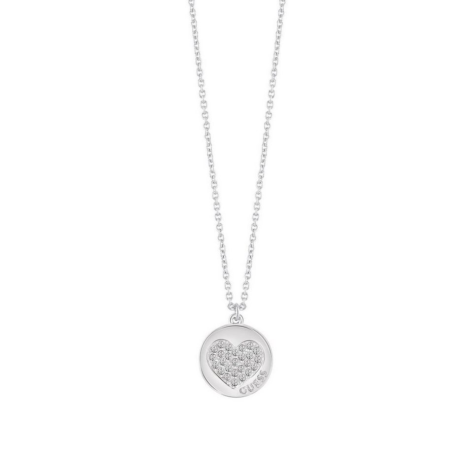 Guess LANGE HALSKETTE HEART DEVOTION RHODINIERT in Argent
