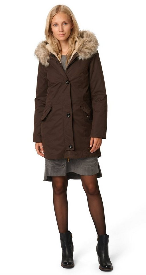 TOM TAILOR Jacke »Parka mit Kapuze« in cappuccino brown