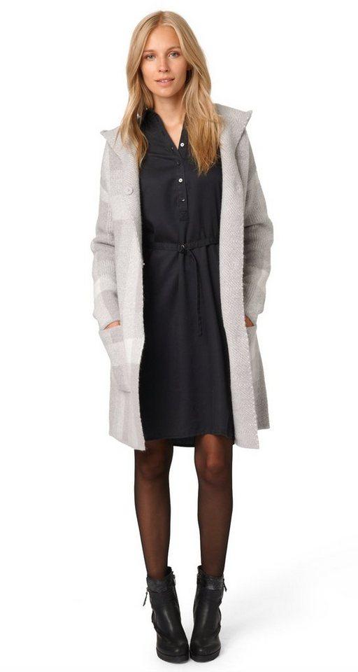 TOM TAILOR Strickjacke »coatigan with check pattern« in bleached grey melang