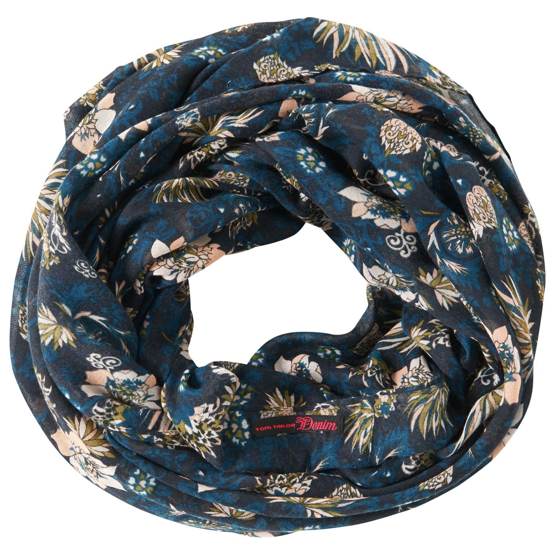 TOM TAILOR DENIM Schal »loop scarf with flower print«