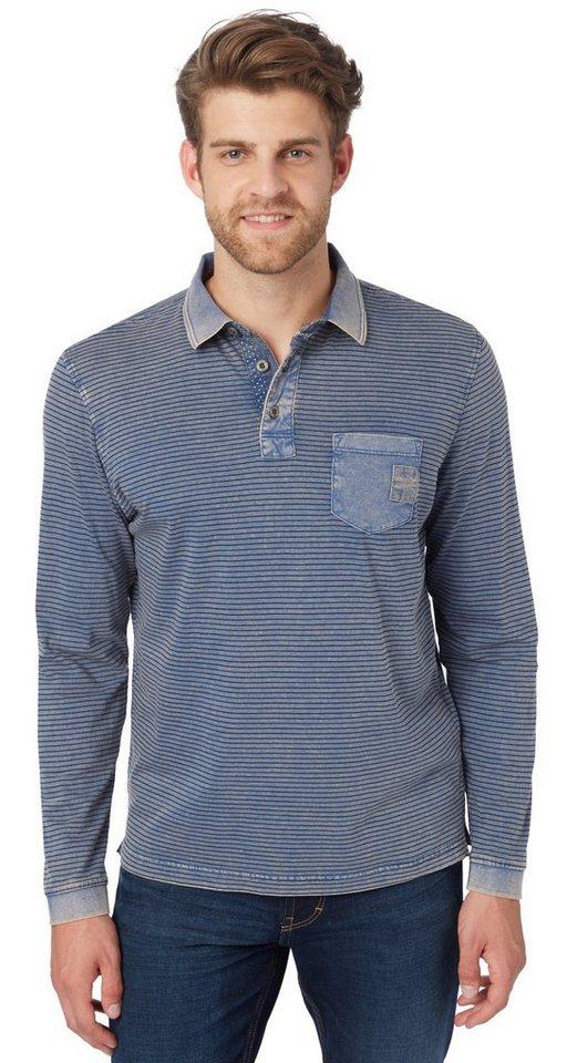 TOM TAILOR Poloshirt »Langarm-Poloshirt mit Streifen« in dark denim blue