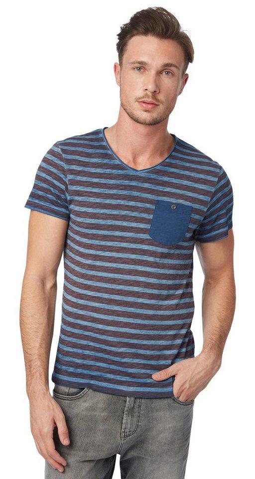 TOM TAILOR T-Shirt »Melange-Shirt mit Brusttasche« in ensign blue