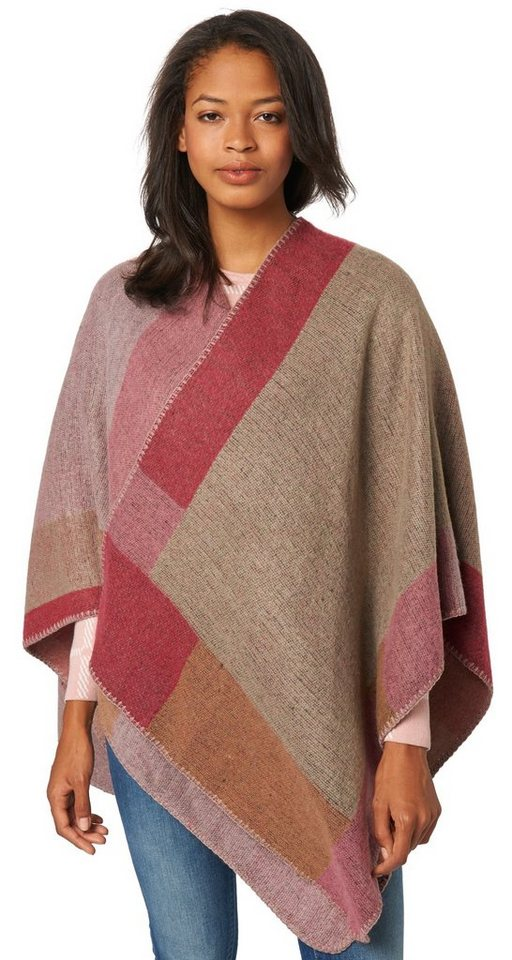 TOM TAILOR Schal »Poncho mit Colour-Blocking« in red bud