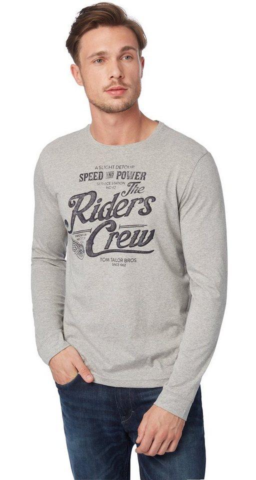 TOM TAILOR T-Shirt »T-Shirt mit Print« in middle grey melange
