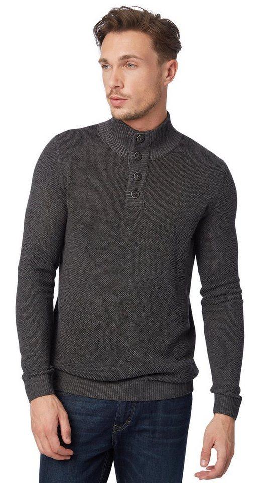 TOM TAILOR Pullover »Strickpullover mit Stehkragen« in black grey melange