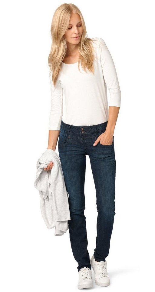 TOM TAILOR Jeans »Used-Jeans mit Stretch-Anteil« in dark stone wash deni