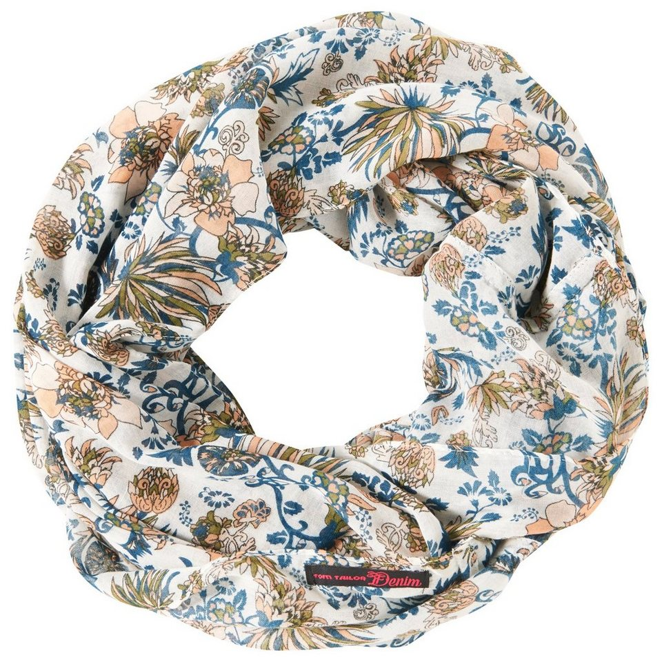 TOM TAILOR DENIM Schal »geblümter Loop-Schal« in off white