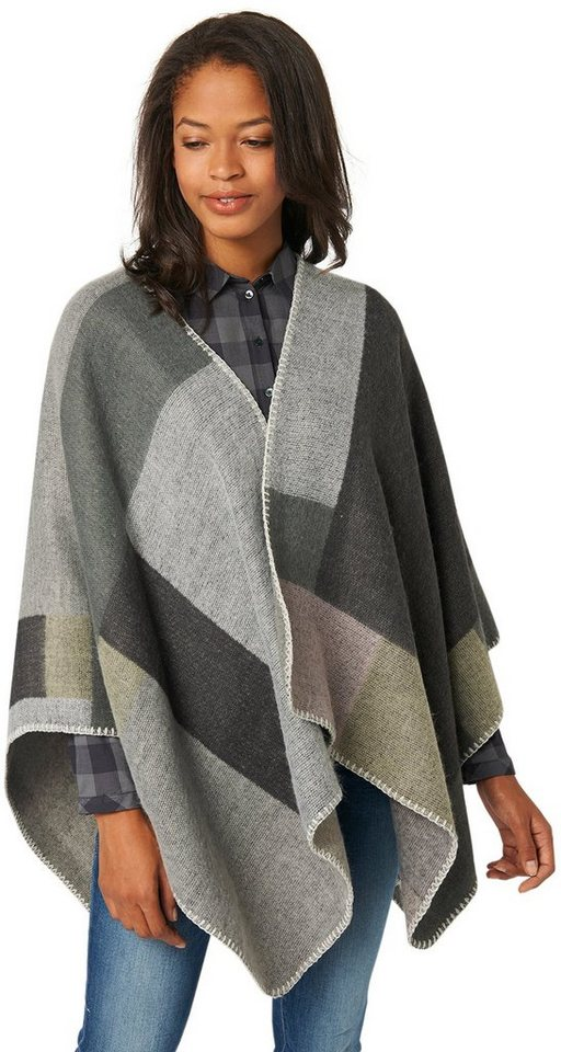 TOM TAILOR Schal »colour block poncho« in Coal Grey