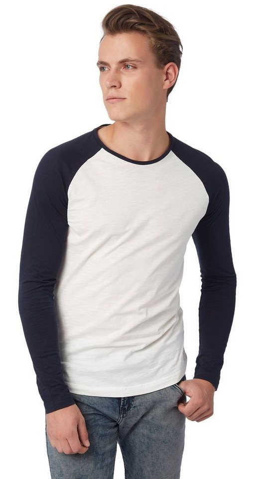 TOM TAILOR DENIM T-Shirt »T-Shirt mit Raglan-Ärmeln« in night sky blue