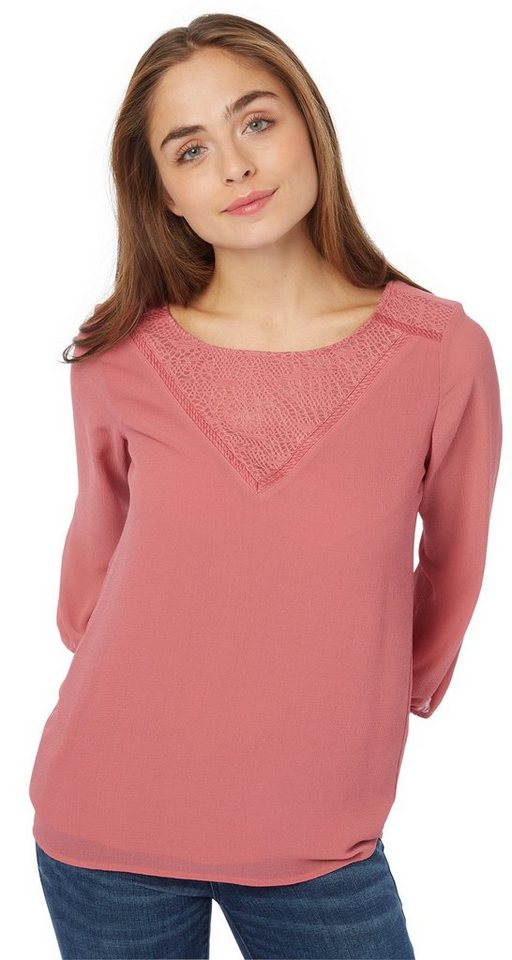 TOM TAILOR Bluse »Chiffon-Bluse mit Spitze« in berry mauve