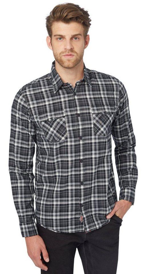 TOM TAILOR Hemd »kariertes Hemd mit Brusttaschen« in tarmac grey