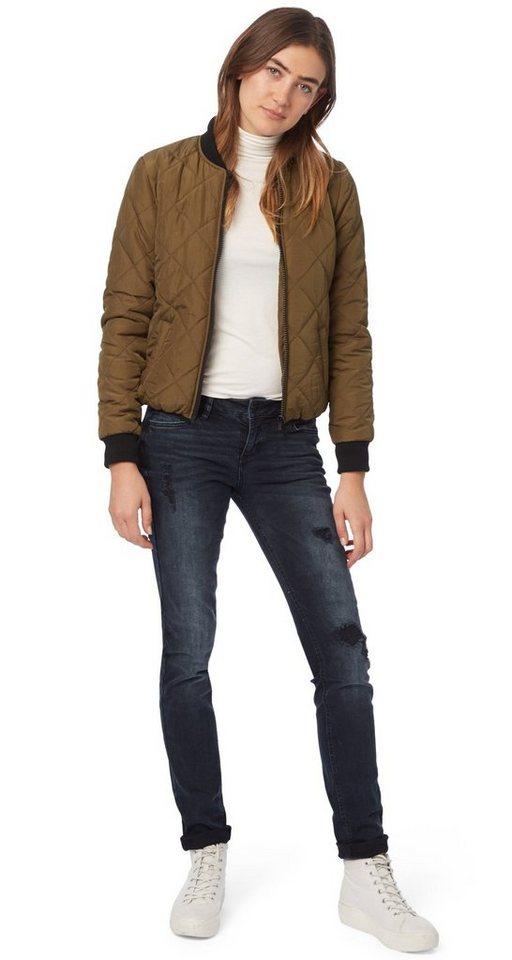 TOM TAILOR DENIM Jeans »coole Used-Jeans mit Destroys« in blackblue denim