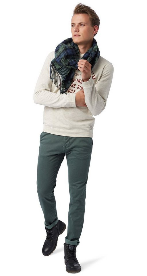 TOM TAILOR DENIM Hose »houndstooth chino with belt« in light spruce green