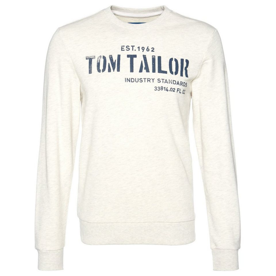 TOM TAILOR Sweatshirt »logo sweater« in offwhite melange