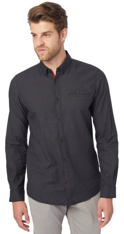 TOM TAILOR Hemd »fein gemustertes Button-Down-Hemd« in black