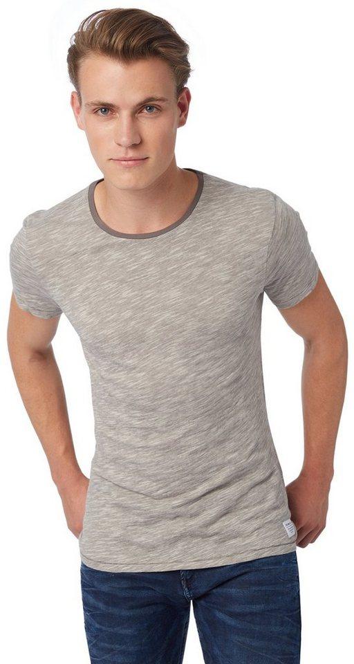 TOM TAILOR DENIM T-Shirt »T-Shirt in Melange Optik« in somber grey