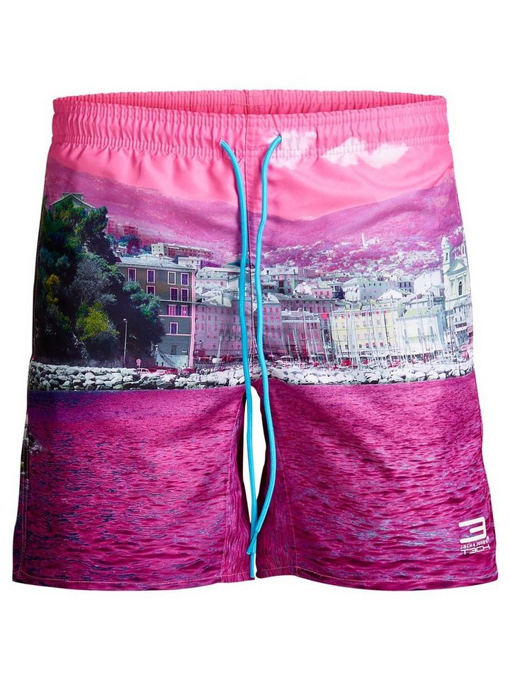 Jack & Jones Fotoprint Badeshorts in Knockout Pink