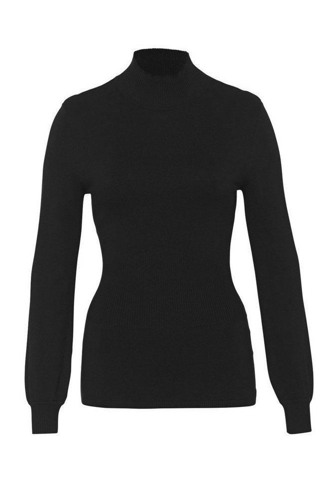HALLHUBER Stehkragenpullover mit Taillierung in schwarz