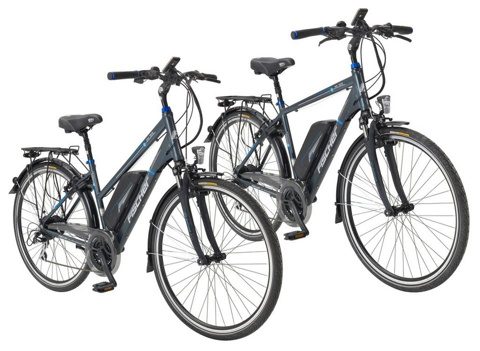 FISCHER FAHRRAEDER E-Bike Trekking Herren »Trekking-E-Bike (Herren) und im Doppelpack, 71,12 cm (28 Zoll)« in grau