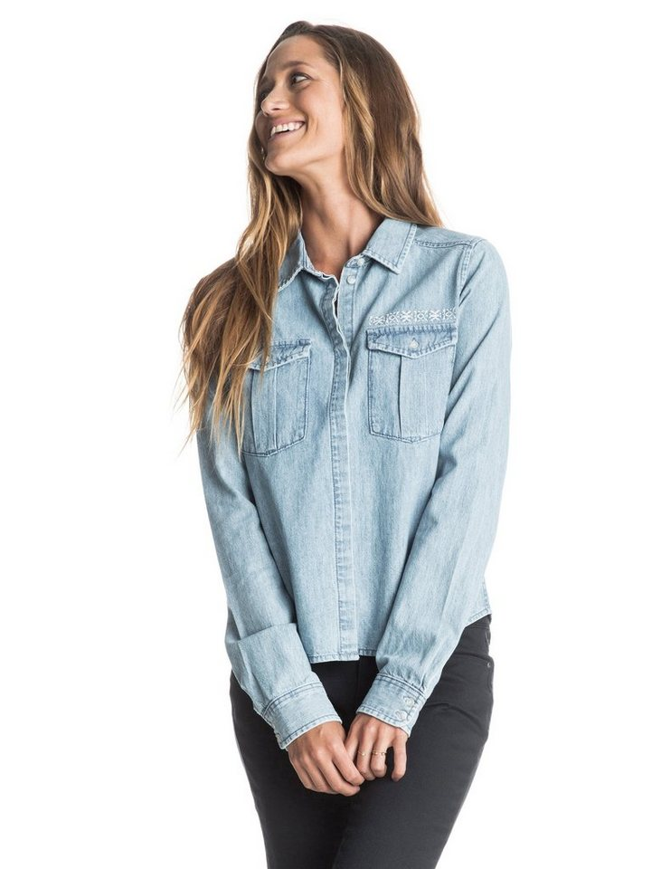 Roxy Langärmeliges jeanhemd »Save Me« in Aquamarine