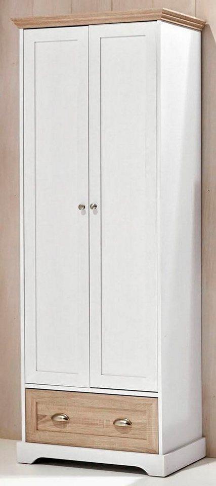 Home affaire Garderobenschrank »Maze« in Weiß/Eichefarben sägerau