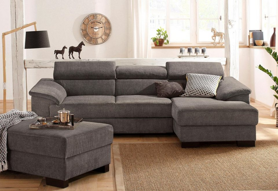 home affaire ecksofa mika mit verstellbaren kopfst tzen wahlweise mit bettfunktion online. Black Bedroom Furniture Sets. Home Design Ideas