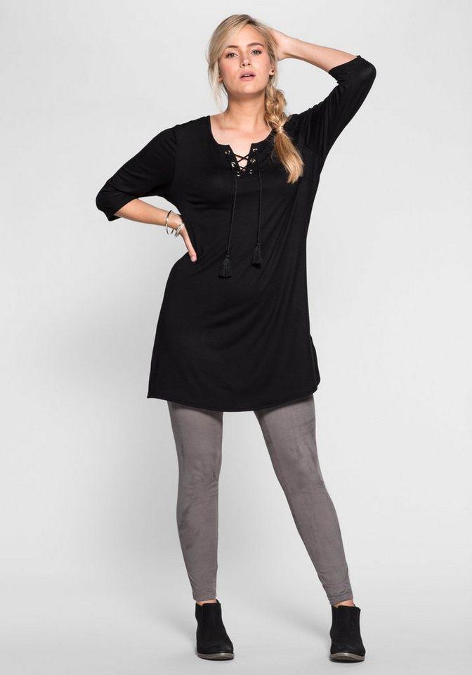 sheego Casual Mini-Jerseykleid in schwarz