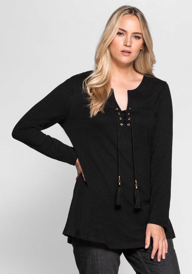 sheego Style Langarmshirt in schwarz