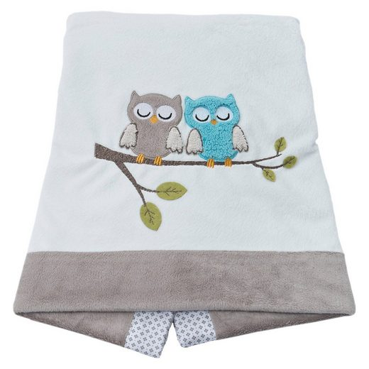 Be Be's Collection Babydecke Eule, grau, 75 x 100 cm