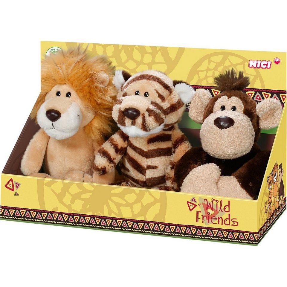 NICI Geschenkset Plüsch Löwe+Affe+Tiger 15cm (40210)