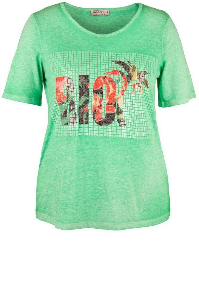seeyou silver T-Shirt »MIT PAILLETTENPRINT« in nilgrün
