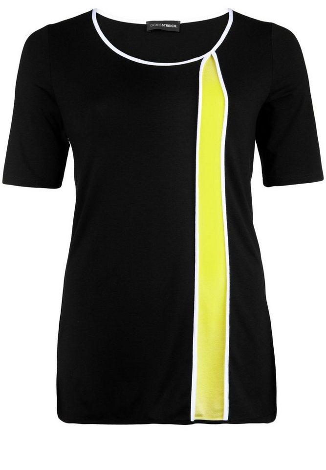 Doris Streich Jersey-Longshirt »MIT VERTIKALEM FARBSTREIFEN« in lemon
