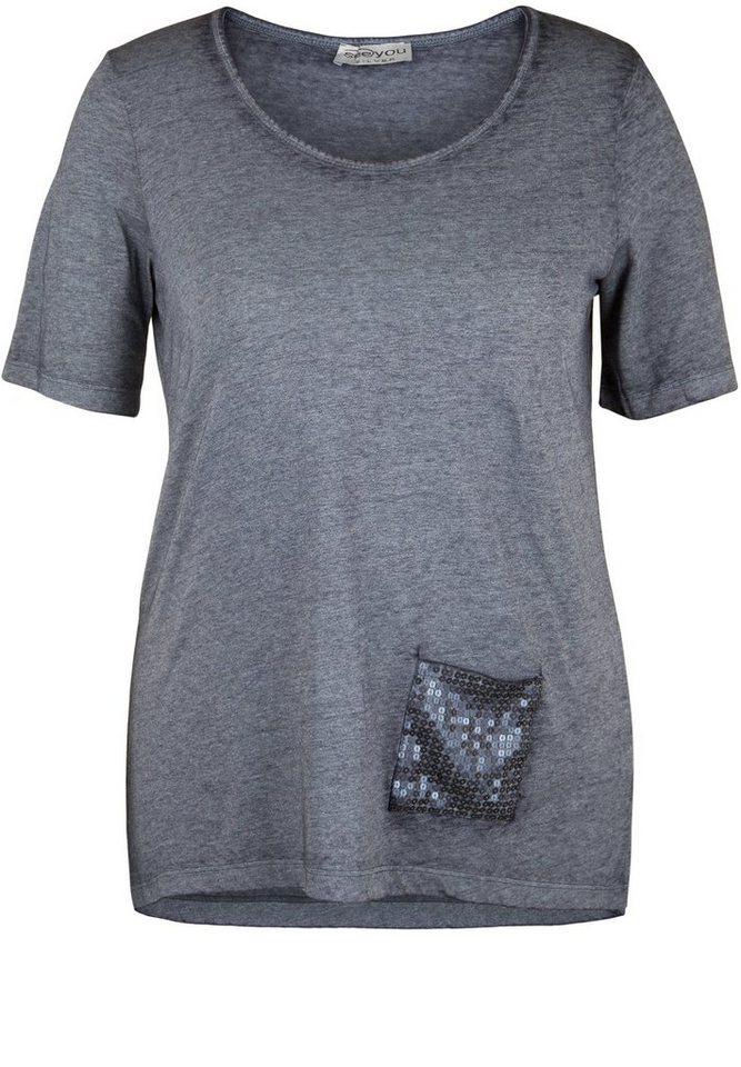seeyou silver T-Shirt »MIT PAILLETTENBESETZTER TASCHE« in navy