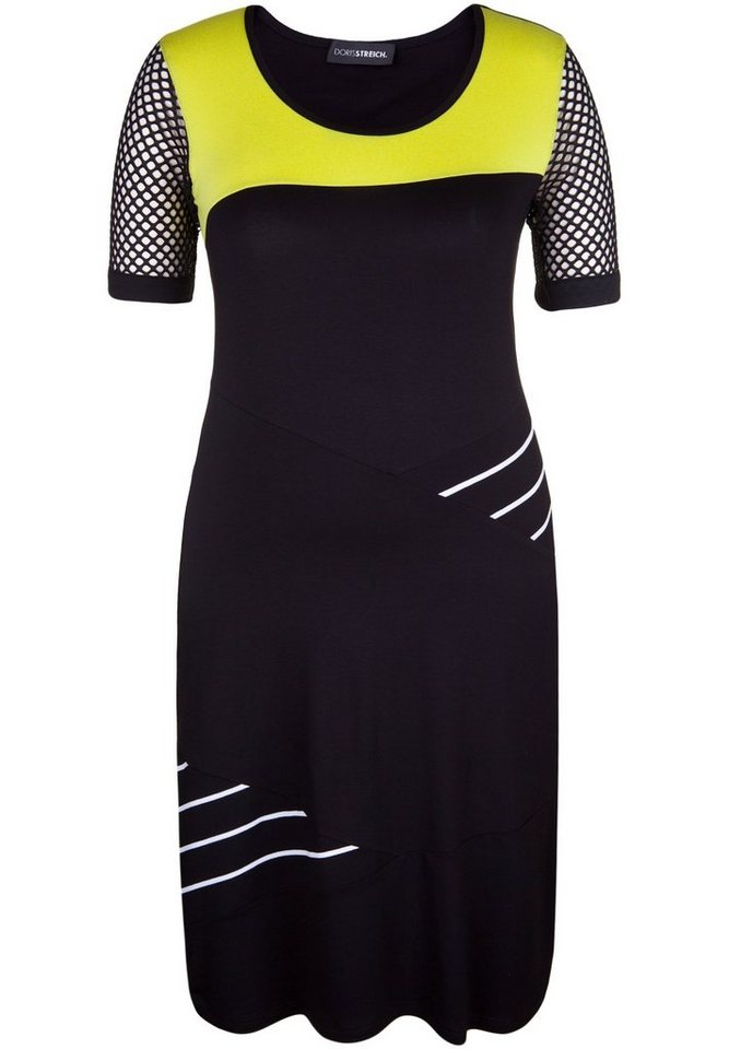 Doris Streich Jerseykleid »MIT HALBLANGEN NETZÄRMELN« in schwarz/weiß