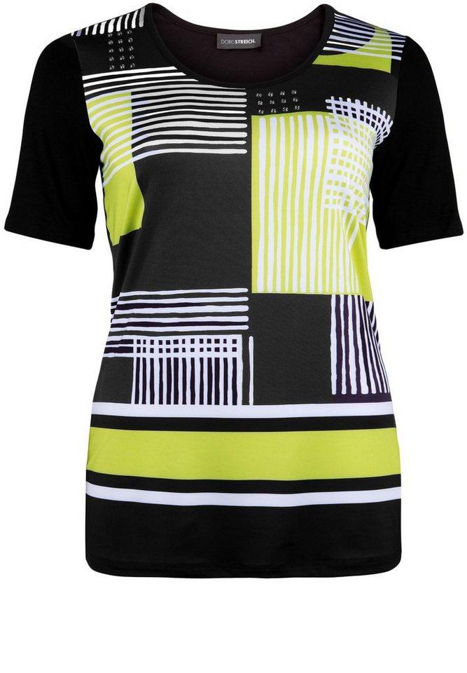 Doris Streich T-Shirt »MIT GEOMETRISCHEM MUSTER« in lemon